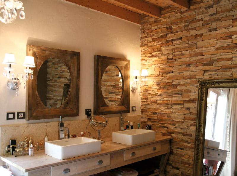 Salle de bain en pierre apparente maison gallery - Salle de bain bois pierre ...